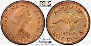Click now to see the BUY IT NOW Price! 1955 PERTH   NO DOT    PROOF HALFPENNY PCGS GRADED PR62RD. NICE COIN