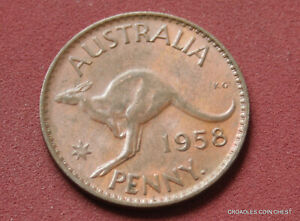 1958Y.PENNY  LUSTROUS AUNCIRCULATED TONED COIN AUSTRALIA PREDECIMAL AWC50