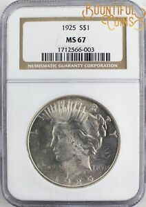 Click now to see the BUY IT NOW Price!  1925 NGC MS 67 PEACE ONE DOLLAR $1 MINT STATE  L78