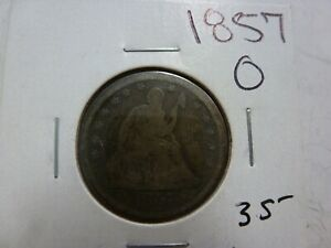 1857 O SEATED LIBERTY SILVER QUARTER DOLLAR