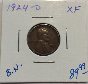 1924 D 1C BN LINCOLN CENT IN XF CONDITION