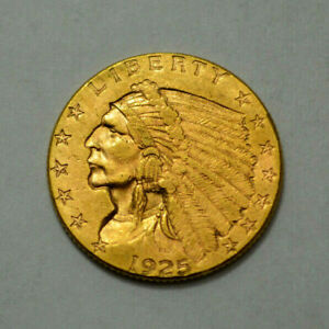 1925 D UNC  $2.5 INDIAN HEAD QUARTER EAGLE US GOLD COIN $2 1/2
