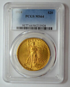 1924 P PCGS MS64  $20 GOLD ST. GAUDENS DOUBLE EAGLE GOLD US COIN