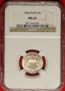 1866 RAYS 5C NGC MS65 STRONG STIKE GEM UNCIRCULATED UNC FIRST YEAR SHIELD NICKEL