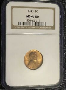 1940 LINCOLN CENT NGC MS 66 RD NICE LUSTER