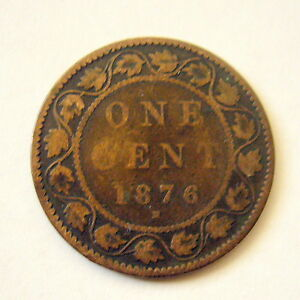 1876 H CANADA ONE CENT COIN