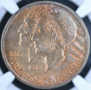 Click now to see the BUY IT NOW Price! TONING  1938 D 50C ARKANSAS COMMEMORATIVE HALF DOLLAR   NGC MS67  4626853 002