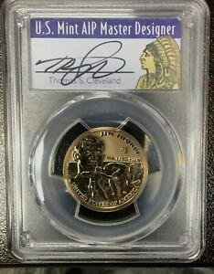 Click now to see the BUY IT NOW Price! 2018 S NATIVE AMERICAN $1 REVERSE PROOF 50TH ANN CLEVELAND SIGNED PCGS PF70