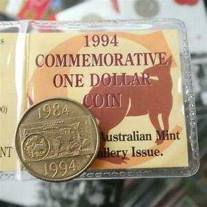 1994 AUSTRALIA 10TH ANNIVERSARY OF ONE DOLLAR COIN $1 COIN IN RAM VISITORS FLIP