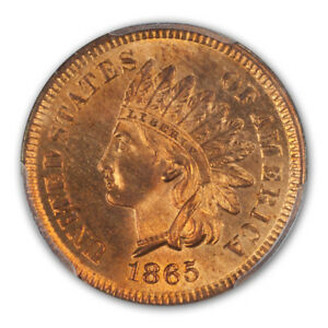 Click now to see the BUY IT NOW Price! 1865 1C FANCY 5 INDIAN CENT   TYPE 3 BRONZE PCGS MS66 RD  CAC