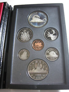 1986 CANADA VANCOUVER LOCOMOTIVE SILVER DOLLAR 7 COIN PROOF SET WITH BOX & COA