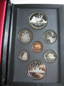 1987 CANADA PROOF SET W/ SILVER DAVIS STRAIT SILVER DOLLAR 7 COIN W/ BOX & COA