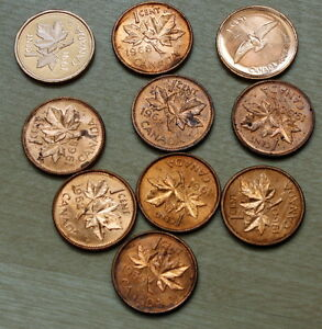 LOT OF 10 DIFFERENT UNCIRCULATED CANADA 1 CENT