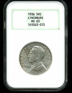 1936 50C LYNCHBURG CLASSIC COMMEMORATIVE HALF DOLLAR MS63 NGC OLD FATTY HOLDER