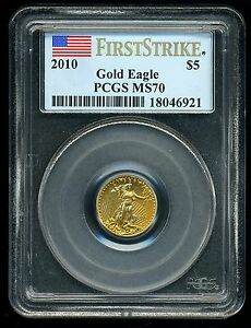 2010 G$5 GOLD AMERICAN EAGLE PCGS MS70 FIRST STRIKE 18046921