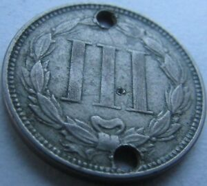 1866 NICKEL 3 CENTS IN A SAFLIP