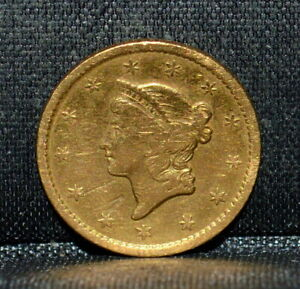 1849 P $1 GOLD DOLLAR  VF FINE DETAILS  TYPE 1 T1 EX JEWELRY TRUSTED
