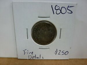 1805 DRAPED BUST DIME COIN    HOLED