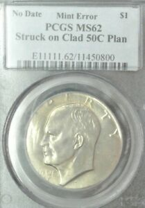 Click now to see the BUY IT NOW Price! 1971 OR 2 D PCGS MS62 IKE DOLLAR STRUCK ON 50 CENT PLANCHET CLASHED DIES & MORE