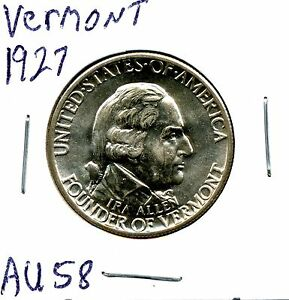 1927 50C VERMONT SILVER COMMEMORATIVE HALF DOLLAR IN CHOICE AU CONDITION