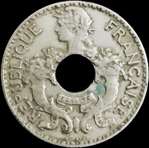 FRENCH INDO CHINA   5 CENTS HOLED COIN   1939   VIETNAM WAR   LAOS   CAMBODIA B