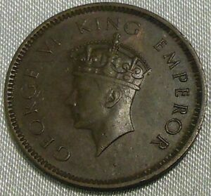 BRITISH INDIA 1/4 ANNA 1939 GEORGE VI KING EMPEROR ONE QUARTER ANNA COIN