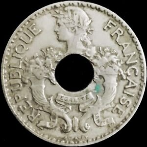 FRENCH INDOCHINA   5 CENTS HOLED COIN   1939   VIETNAM WAR   LAOS   CAMBODIA