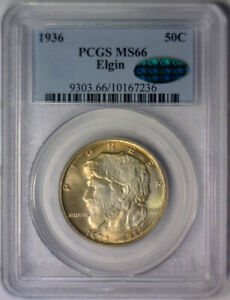 Click now to see the BUY IT NOW Price! 1936 ELGIN ILLINOIS SILVER COMMEMORATIVE HALF   PCGS MS66 MS 66 CAC