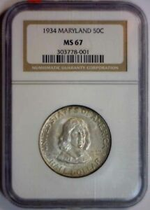 Click now to see the BUY IT NOW Price! 1934 MARYLAND SILVER COMMEMORATIVE HALF   NGC MS67 MS 67