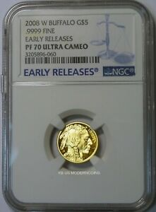 2008 W $5 PROOF AMERICAN GOLD BUFFALO 1/10 OZ. NGC PF70 UCAM EARLY RELEASES