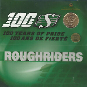 2010 CANADA ROUGHRIDERS 100 YEARS OF PRIDE GOLD PLATED LOONIE