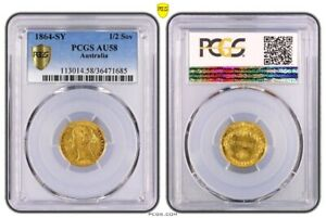 Click now to see the BUY IT NOW Price! AUSTRALIA 1864 SYDNEY MINT GOLD HALF SOVEREIGN COIN PCGS AU58 MCD CV $27 000