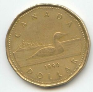 CANADA 1990 LOONIE CANADIAN ONE DOLLAR $1 EXACT COIN SHOWN LOON