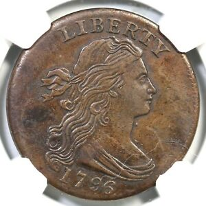 1796 S 110 R 3 NGC AU DETAILS DRAPED BUST LARGE CENT COIN 1C