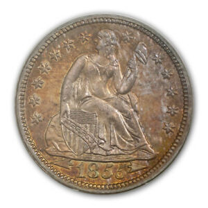 Click now to see the BUY IT NOW Price! 1855 10C ARROWS LIBERTY SEATED DIME PCGS PR65