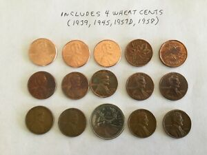 US CANADIAN CENTS LOT 15 COINS   SOME NEW SOME TONED SOME CANADIAN 4 WHEAT