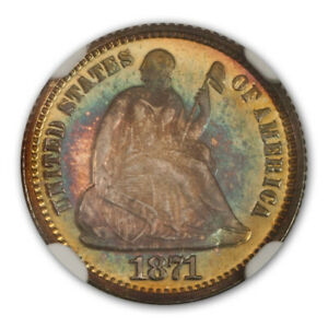 Click now to see the BUY IT NOW Price! 1871 SEATED HALF DIME H10C NGC PR68