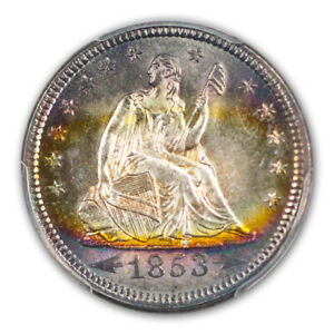Click now to see the BUY IT NOW Price! 1853 25C ARROWS AND RAYS LIBERTY SEATED QUARTER PCGS MS66
