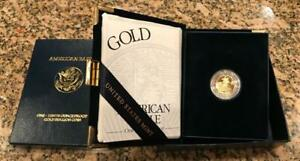 2003 W WEST POINT AMERICAN EAGLE 1/10 OZ. $5 GOLD PROOF COIN W/BOX CASE & COA