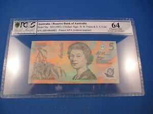 Click now to see the BUY IT NOW Price! 1992 AB19 FRASER COLE $5  LIGHT GREEN POLYMER. PCGS 64 CHOICE UNCIRCULATED