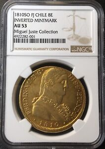 Click now to see the BUY IT NOW Price!     GOLD COIN 8 ESCUDOS FERDINAND VII 1810 SANTIAGO CHILE F.J NGC AU53