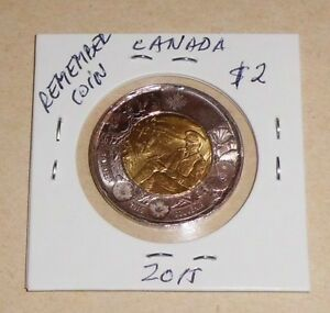 CANADA $2  TOONIE  COMMEMORATIVE 2015 REMEMBER VETERANS COIN