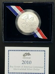 2010 P BOY SCOUTS OF AMERICA CENTENNIAL UNC SILVER DOLLAR US MINT OGP