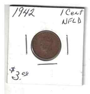 1942 NEWFOUNDLAND 1 CENT SMALL PENNY