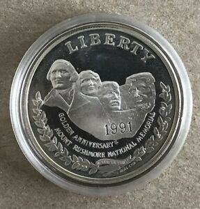 1991 S GOLDEN ANNIVERSARY MOUNT RUSHMORE NATIONAL MEMORIAL SILVER PROOF