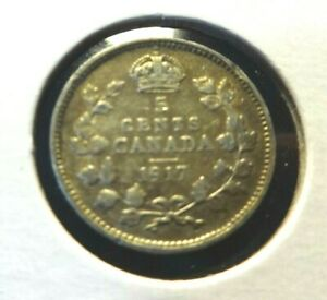 CANADA  1917  5 CENTS  .925   SILVER