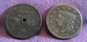 2 ; A PAIR OF 1839 CORONET LARGE CENTS  HOLED