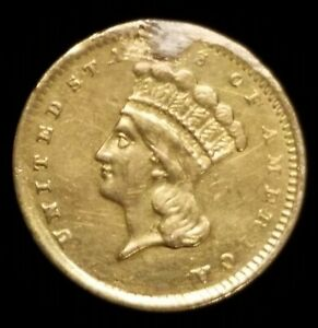 1856 $1 PRINCESS HEAD TYPE 3 GOLD COIN W/ XF DETAILS