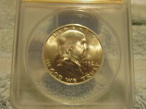 1952 S FRANKLIN HALF DOLLAR.  ANACS GRADED MS 65