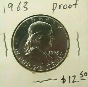 FRANKLIN HALF DOLLAR 1963 PROOF 50 CENT PIECE LIBERTY BELL COIN